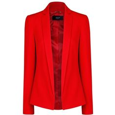 Mango Crepe Blazer (495 MXN) ❤ liked on Polyvore featuring outerwear, jackets, blazers, coats, tops, bright red, fitted jacket, blazer jacket, long sleeve blazer and mango jacket