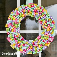 Easter wreath. cut ribbon strips 4-6inchs and glue or sew a seam at the bottom leaving a little room. Then glue down your loops by spreading the bottom of the loop out. Then glue ribbon on the very outside to finish covering the wreath form