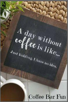 Coffee farmhouse sign | farmhouse decor | wood sign | coffee sign | a day without coffee | rustic sign | farmhouse signs | coffee quote | #coffee #coffeebar #afflink #kitchendesign #rustic #rusticdecor #rustickitchen #farmhouse #farmhousestyle