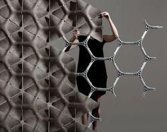 Benjamin Hubert's London studio Layer has designed a modular screen system made up of triangular hemp tiles for Australian textile company Woven Image