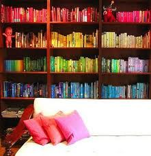 a rainbow of books. < I've considered doing this.