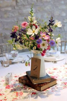 Wild flower centerpiece so simple and pretty ~JC