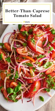 This Is the Summer Salad That Really Lets Tomatoes Shine (It's Not Caprese) Dies ist der Sommersalat, der Tomaten zum Strahlen bringt (nicht Caprese) Veggie Dishes, Vegetable Recipes, Vegetarian Recipes, Cooking Recipes, Healthy Recipes, Tomato Dishes, Vegetable Salad, Pescatarian Recipes, Chicken Recipes