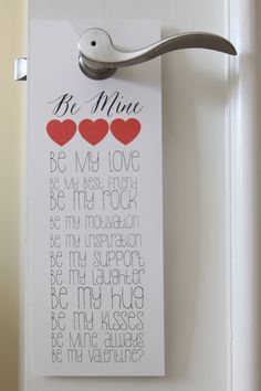 Be Mine Door Hanger is a great accent to any wedding reception or hotel room accommodations.  The Door Hanger is 4 inches by 11 inches.  The door hangers come in packs of 25.   We can change the content, colors and fonts.  Please choose color(s) and fonts off the colors and fonts sheets provided