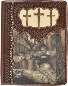 (3DB-G254) Western Brown & Camo iPad® Cover with Crosses