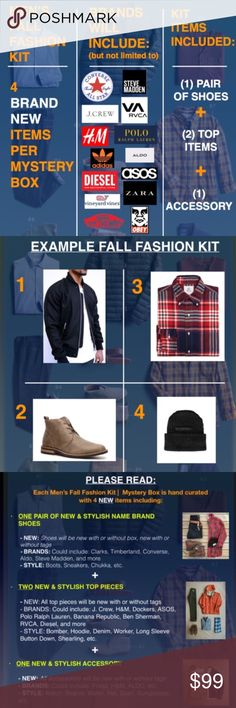Men's Fall Fashion Mystery Box (2 New Items) *PLEASE READ*   *PRICE IS FIRM*  The items in this mystery box could be a complete look or could be individual pieces to pair for multiple looks  Each Men's Fall Fashion Kit |  Mystery Box is hand curated with 4 BRAND NEW items including (1) shoe, (2) top, (1) accessory  Brands will include: J. Crew, H&M, Dockers, ASOS, Polo Ralph Lauren, Clarks, Timberland, Converse, Steve Madden, RVCA, Diesel, ALDO,  Adidas, The North Face, OBEY, & more  After…