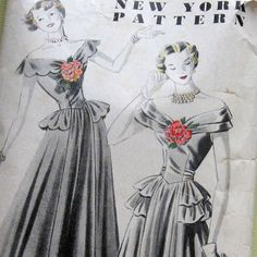 Vintage Womens Evening Dress Pattern With Off Shoulder Basque Peplum Waist And Ankle Length Skirt circa 1940s B37