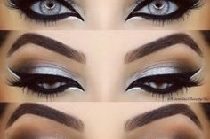 Grey, white and black eye makeup style