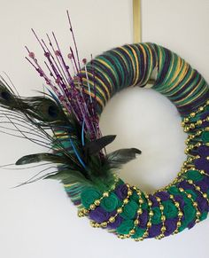 Mardi Gras Wreath Multicolor Yarn and Felt  by TheBakersDaughter, $45.00