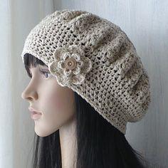 Summer Linen Cotton Beret,Linen Beret,Beach Beret,Natural Fiber Hat,Womens Beret,Summer Crochet Hat,Gift For Her,Gift For Women,Womens Hat by GoldenAniel on Etsy