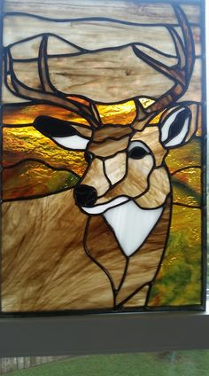 chevreuil Custom Stained Glass, Faux Stained Glass, Stained Glass Designs, Stained Glass Panels, Stained Glass Projects, Stained Glass Patterns, Leaded Glass, Mosaic Glass, Wildlife Quilts