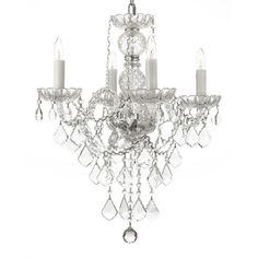 Venetian Style All Crystal 4-light Chandelier