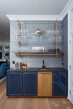 Gloss Lacquer Bar with Integral Brass Sink + Wall Hanging Collector's Shelving Unit - Amuneal: Magnetic Shielding & Custom Fabrication - Laura Herring - Diy Home Bar, Home Bar Decor, Home Wet Bar, Home Bars, Mini Bar At Home, Bar Palettes, Bar Sala, Bar Counter Design, Bar Furniture