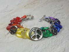 Rainbow Button Bracelet Peace Sign Charm by BlueJeanGirlDesigns