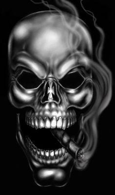 black and white skull art #ilustration