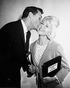 Rock Hudson swearing in Doris Day as the Mayor of Universal Studios, 1962