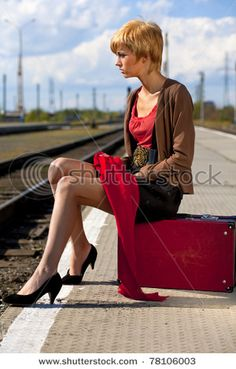 Train station with suitcase