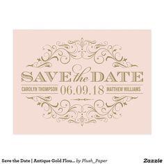Save the Date   Antique Gold Flourish