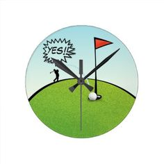 #funny #wallclocks - #FUNNY GOLF BALL HOLE IN ONE GOLFER GIFT ROUND CLOCK