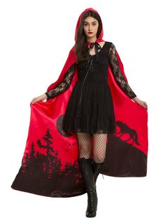 "Awoooo! This satiny red cape, inspired by the classic folk tale <i>Little Red Riding Hood,</i> has an interior landscape design of an ominous silhouette featuring the Big Bad Wolf in the woods at night. <br><ul><li style=""LIST-STYLE-POSITION: outside !important; LIST-STYLE-TYPE: disc !important"">One size</li><li style=""LIST-STYLE-POSITION: outside !important; LIST-STYLE-TYPE: disc !important"">100% polyester</li><li style=""LIST-STYLE-POSITION: outside !important; LIST-STYLE-TYPE: disc…"