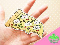 Pizza Cat Vinyl Sticker, Pizza sticker, Cute cat, Funny cat, Valentine's Cat…