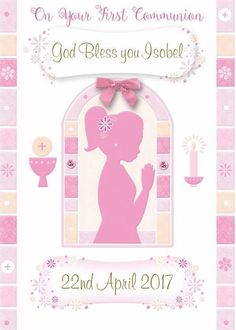 Personalized Greeting Cards, First Holy Communion, Holi, Blessed, Frame, Girls, Picture Frame, Toddler Girls, Daughters