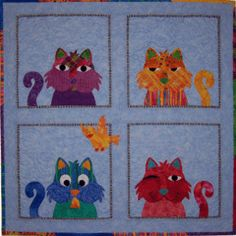 Sweety Cat applique quilt pattern - available at www.CaryQuilting.com