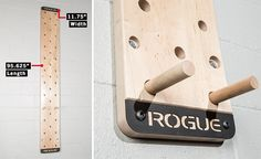 This makes my soul so so happy! The official, wall-mounted Rogue Peg Board is made in the USA from your choice of top-quality maple or pine. Each set includes one thick board tall x wide) and two grip-friendly wood dowel rods—each measuring in length and Small Garage, Garage Gym, Diy Home Gym, Le Pilates, Rogue Fitness, Outdoor Gym, Gym Room, Body Training, Gym Design