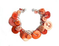 Orange Charm Bracelet Buttons  Jubilant  by LovesParisStudio, $30.00