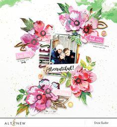 Beautiful Smiles Layout. @altenew #Altenew #AltenewPeonyDream3D #scrapbooking #layout