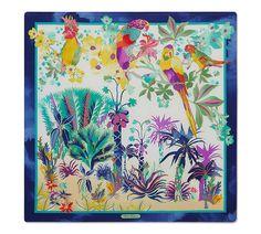 Parrots and Flowers Printed Silk Scarf | Salvatore Ferragamo