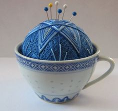 tea cup and pin cushion, what's not to <3 also a perfect addition to a knit/crochet tea party