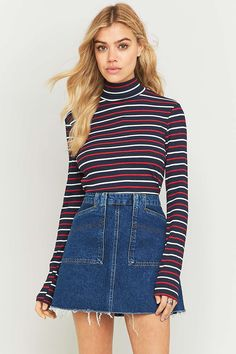 Urban Outfitters Navy Striped Ribbed Turtleneck Top