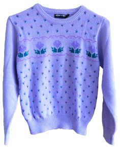 vintage New Spirit by Pacific Trail size small purple knitted cable knit sweater with roses and hearts super cute and petite acrylic by VELVETMETALVINTAGE on Etsy