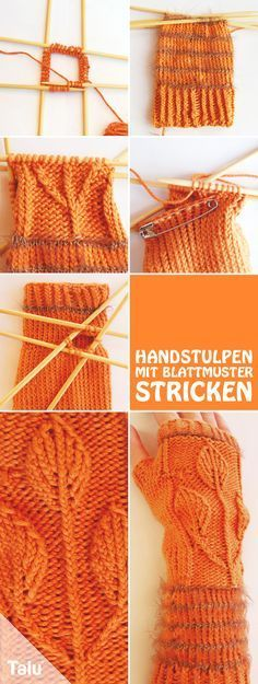 Great Free of Charge knitting slippers with cuff Strategies Kostenlose Anleitung – Handstulpen stricken mit Blattmuster – Talu. Baby Knitting Patterns, Crochet Gloves Pattern, Hand Knitting, Crochet Patterns, Hand Crochet, Free Crochet, Crochet Baby, Wrist Warmers, Hand Warmers