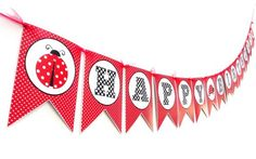Ladybug Birthday Party Banner in Red and White Polka Dot   This is one adorable Ladybug banner for a girl's Birthday Party. This sweet banner says Happy Birthday and has polka dot motif all over, just like a cute ladybug is. The colors used here are red, white and black, totally appropriate for a ladybug themed party. Pretty red tulle adorns the banner perfectly.