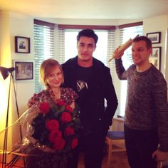 Totes awkward when the Boyf walks in on our Cupid delivering red roses to @alicechorley #NiemierkoValentines