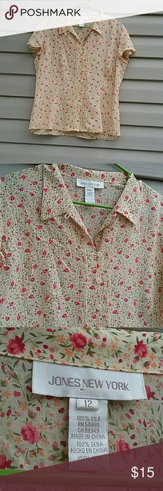 Jones New York blouse Jones New York button down blouse excellent used condition 100% silk size 12 beautiful tan color with little red flowers Jones New York Tops Button Down Shirts