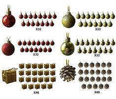 Mini Christmas Ornaments  Assorted Set of 192 Ornaments  Red and Gold Mini Ball Ornaments  Pinecones and Presents  Each Ornament is Approximately One Inch >>> Read more reviews of the product by visiting the link on the image.