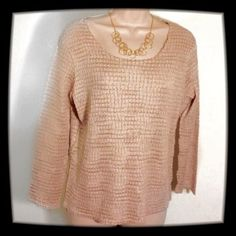 Tan Textured Top This is so beautiful and elegant. It is made of polyester but the texture takes it to a new level!!! Rafeal Tops