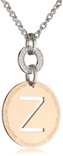 Rebecca Word Swarovski Crystals Rose Gold Over Bronze Letter Z Pendant Necklace >>> Read more reviews of the product by visiting the link on the image.