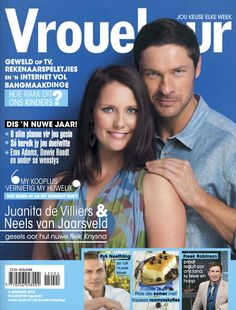 Our Juanita de Villiers sharing the 'Vrouekeur' 02 January 2015 weekly cover with 'Knysna' movie co-star Neels van Jaarsveld. Movie Co, January 2, Digital, Knysna, Cover, Windows 8, Movie Posters, Magazines, Android