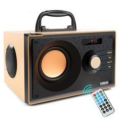 Wireless Wooden Bluetooth Speaker Stereo Subwoofer Portable FM Radio Remote Control TF Card - Wild Wireless World Mp3 Music Player, Audio Equipment, Bluetooth Headphones, Remote, Free Shipping, Klipsch Speakers, Pilot