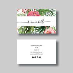 Business Card (Tropical) - Digital Design by BellGraphicDesigns on Etsy www. Unique Business Cards, Creative Business, Business Ideas, Vegetal Concept, Branding Design, Logo Design, Design Cars, Name Card Design, Marketing Logo
