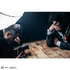 """Image via @platon  bts with questlove. """"Questlove is a rare breed. Supremely talented yet genuinely humble. He confessed to being nervous for three weeks building up to my sitting but my archive of power players and movers and shakers has absolutely no baring on me. I'm nothing just THE MESSENGER. During the shoot he took a picture of me photographing him and he posted it on instagram. I have so much respect for this great musician. Questlove I salute you."""""""