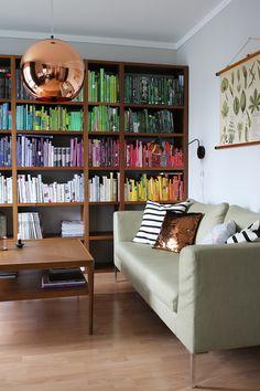 living room - color coded bookshelf