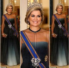 the Queen hosted a grand state banquet for Queen Maxima and King Willem-Alexander of the Netherlands. It's the first time the Dutch royals have enjoyed an official visit in 35 years, and a whole host of VIPs were on hand to celebrate the special occasion. Royal Queen, King Queen, Royals Today, Adele, Casa Real, My Fair Lady, Queen Maxima, Crown Jewels, Royal Fashion