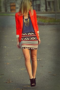 Tribal prints + bright blazers.  CUTE but i'd probably do the skirt with matching color tights a fall sweater and ankle/booties. XD