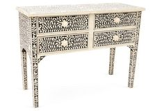Brianna Bone-Inlay Console, Black/Ivory, Intricately patterned mosaics of bone are masterfully inlaid to create this opulent showstopper of a console. This dazzling four-drawer piece is a remarkable feat of design and craftsmanship. Console Table Living Room, Entryway Console Table, Console Tables, Foyer, Entry Furniture, Living Room Furniture, Painted Furniture, Furniture Ideas, Devine Design