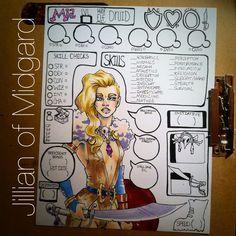 Custom D&D character sheet -by Jillian of Midgard